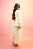 70s Style White Lace Angel Sleeve Maxi Dress