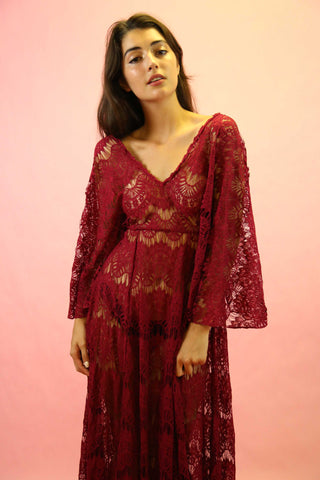 1970's Designer Bill Atkinson Paisley Long Sleeve Maxi Dress