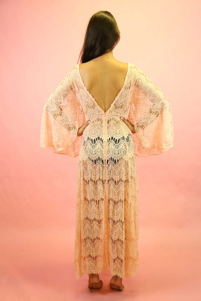 70s Style Pink Lace Angel Sleeve Maxi Dress