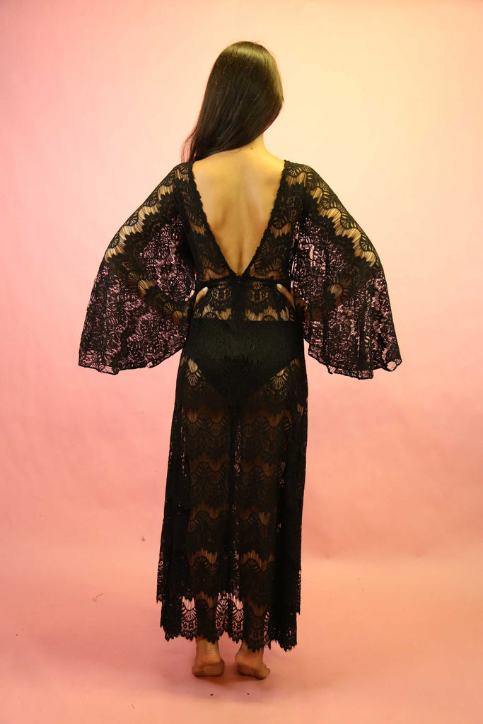 70s Style Black Lace Angel Sleeve Maxi Dress