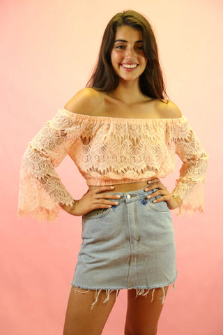 70s Style Mocha Lace Angel Sleeve Top