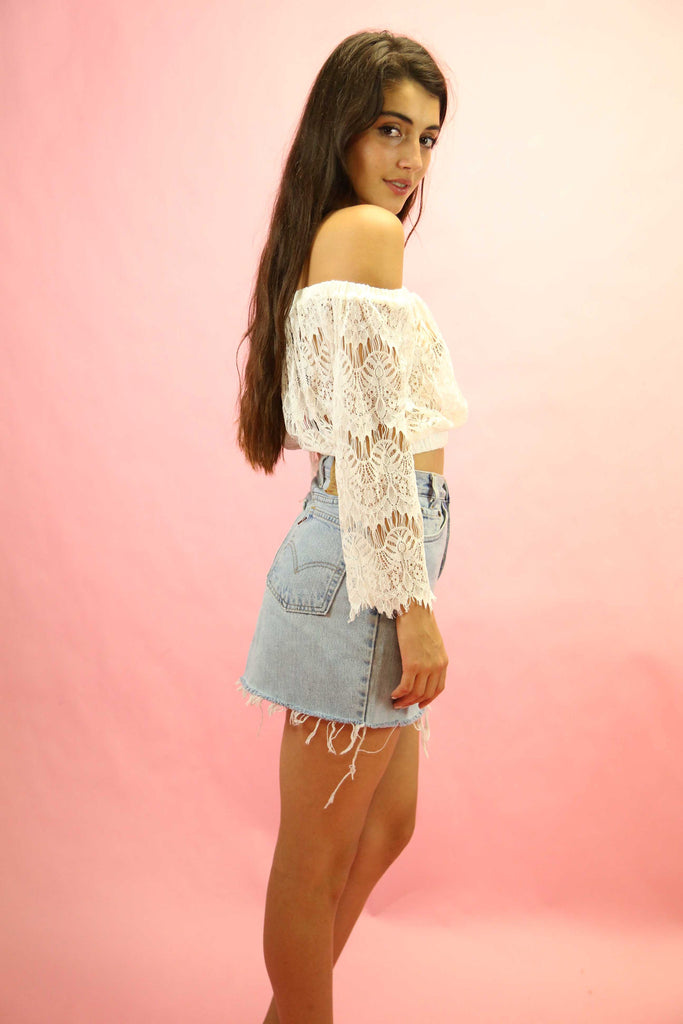 70's Style Gypsy Lace Top White