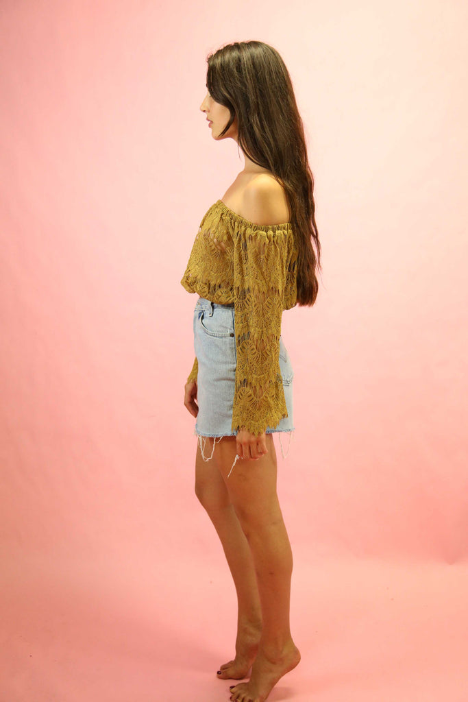 70's Style Gypsy Lace Top Mocha