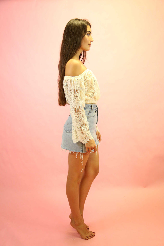 70's Style Gypsy Lace Top Cream