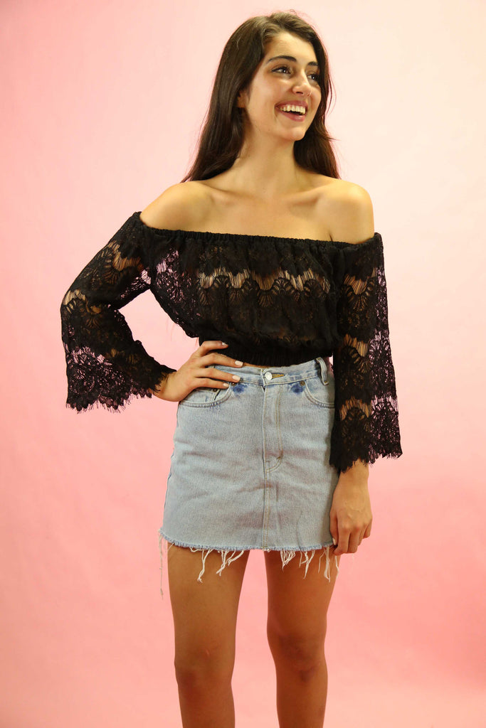 70's Style Gypsy Lace Top Black