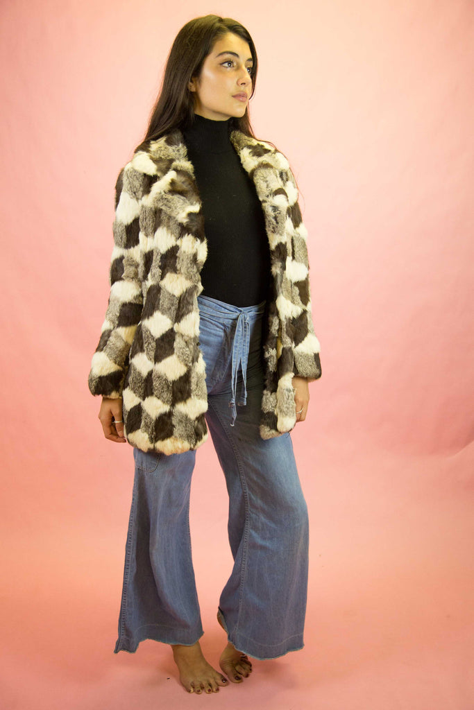 1970s Patchwork Rabbit Fur Coat