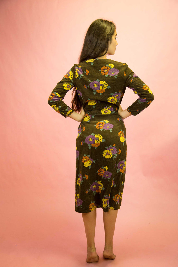 1970s Floral Corduroy Dress