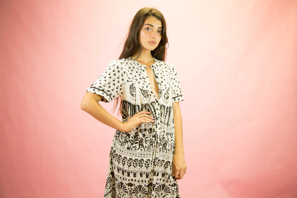 1970s Black And White Indian Cotton Midi Dress