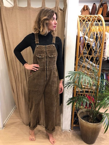 Rare Long Corduroy Cream Overalls