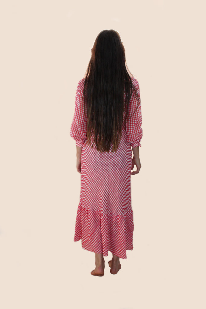 1970s Gingham Long Sleeve Maxi Dress