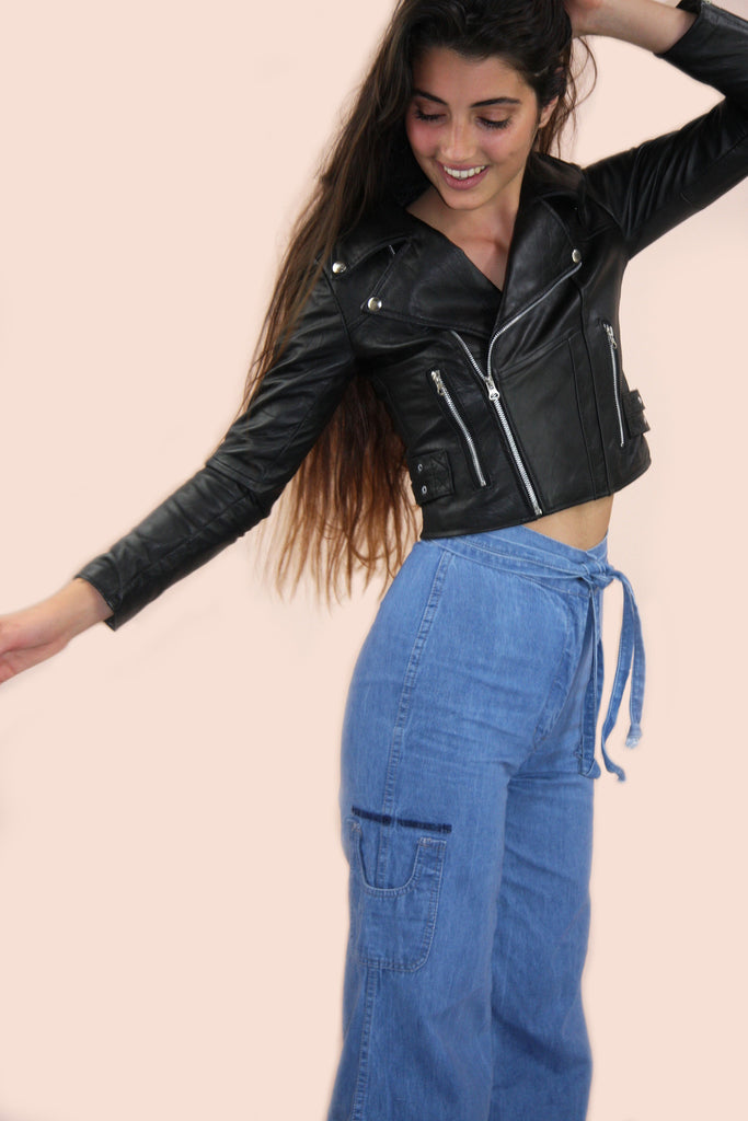 1970s Style Leather Biker Jacket
