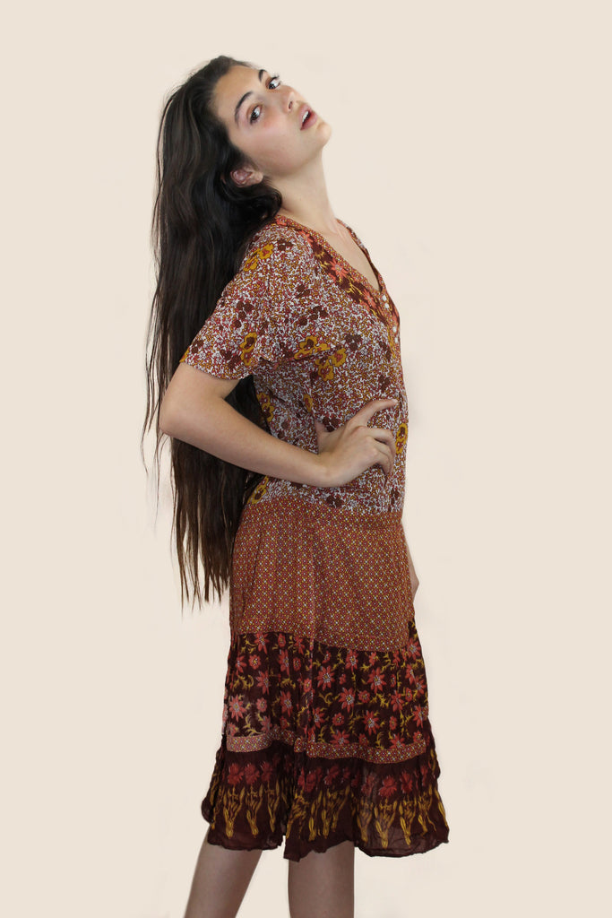 1970s Floral Indian Cotton Dress