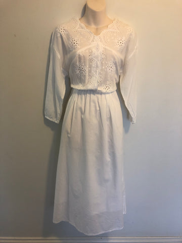 Divine Cotton Knit White V Neck Dress