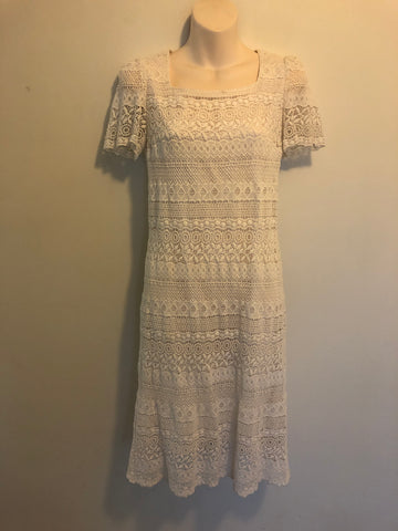 1970s Divine White Ruffled Maxi Dress