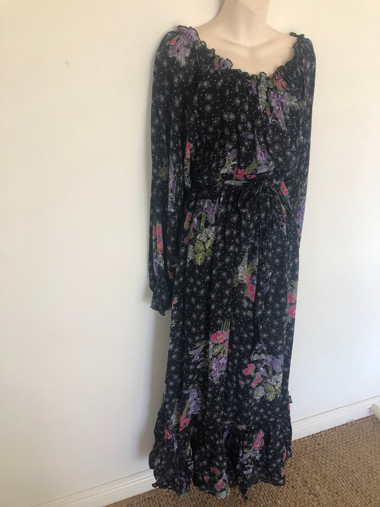 1970s Balloon Sleeve Floral Maxi Dress