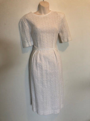 1970s Cream Eyelet Cotton Midi Dress