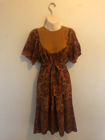 1970s Style Burgundy Lace Angel Sleeve Maxi Dress
