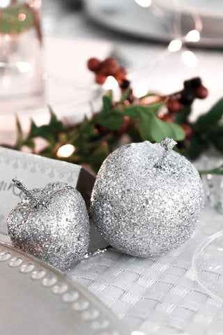 Silver apple decorations