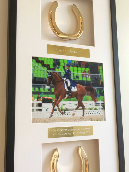 Vom Feinsten's framed Olympic 24ct Gold plated Horseshoe Mementoes