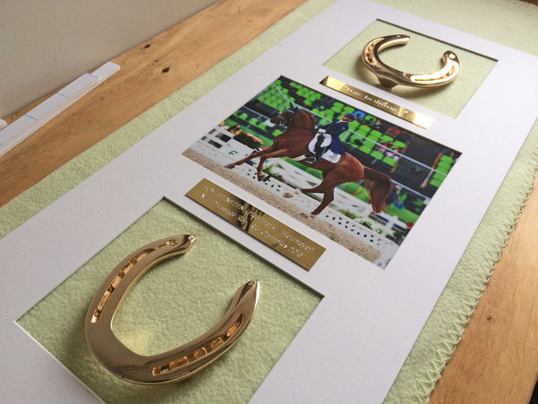 Framed Rio Olympic Horseshoe Memento in progress