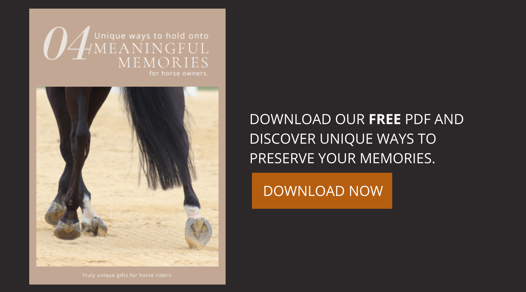 Download your free copy of 4 Unique Ways to Hold Onto Meaningful Memories for Horse Owners