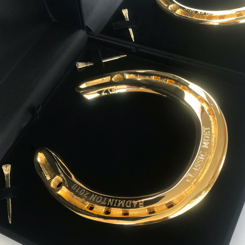 Classic Moet's 24ct Gold Plated Horseshoe Memento ready for sending