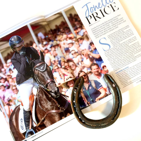 Classic Moet's Badminton Horseshoe with Show Circuit Magazine's article about the win.