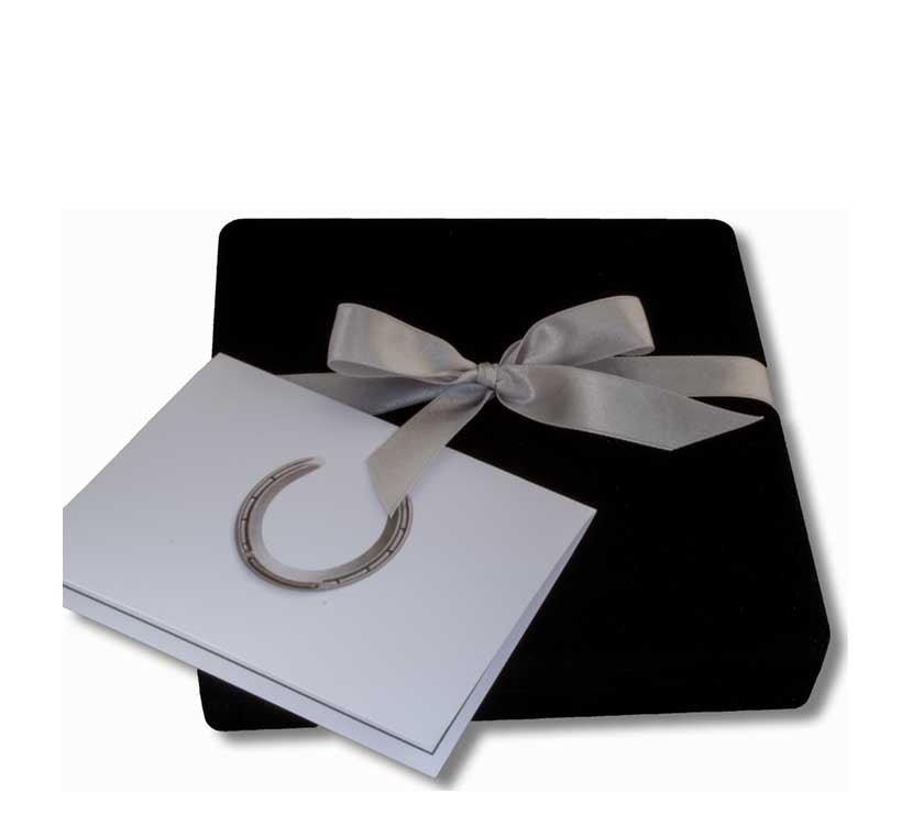 Gift Box, Ribbon and Greeting Card - Horseshoe Mementoes