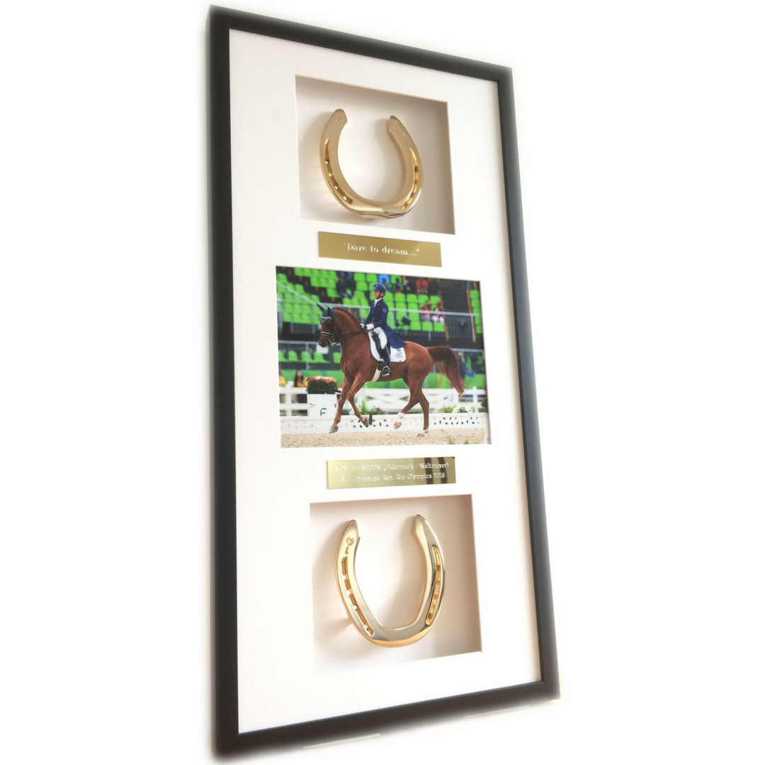 Framed Horseshoes with Photo - Horseshoe Mementoes