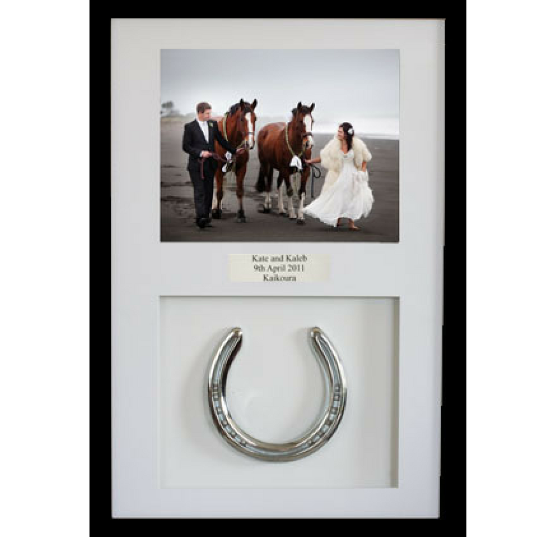 Framed Wedding Horseshoe and Photo - Horseshoe Mementoes