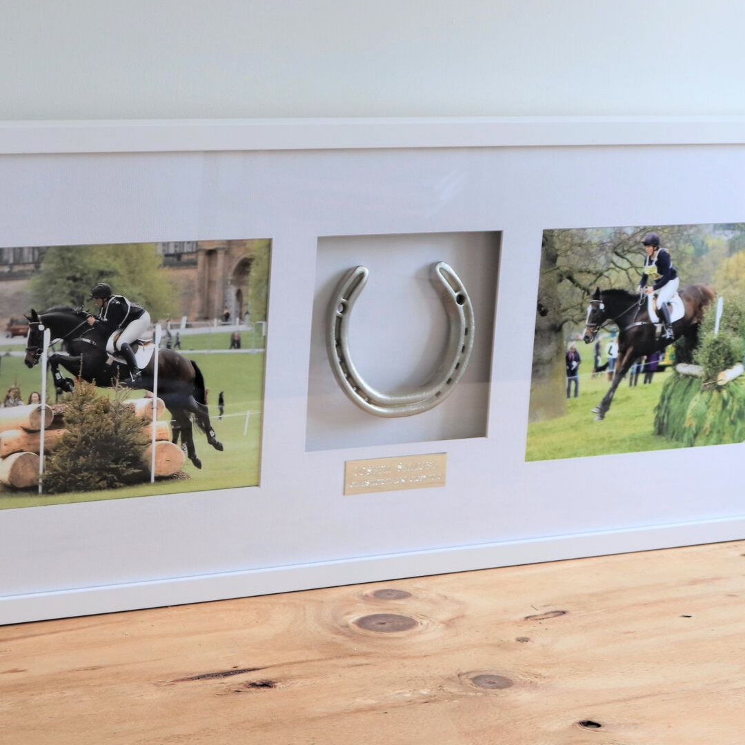 Framed Horseshoe with Two Photos - Horseshoe Mementoes