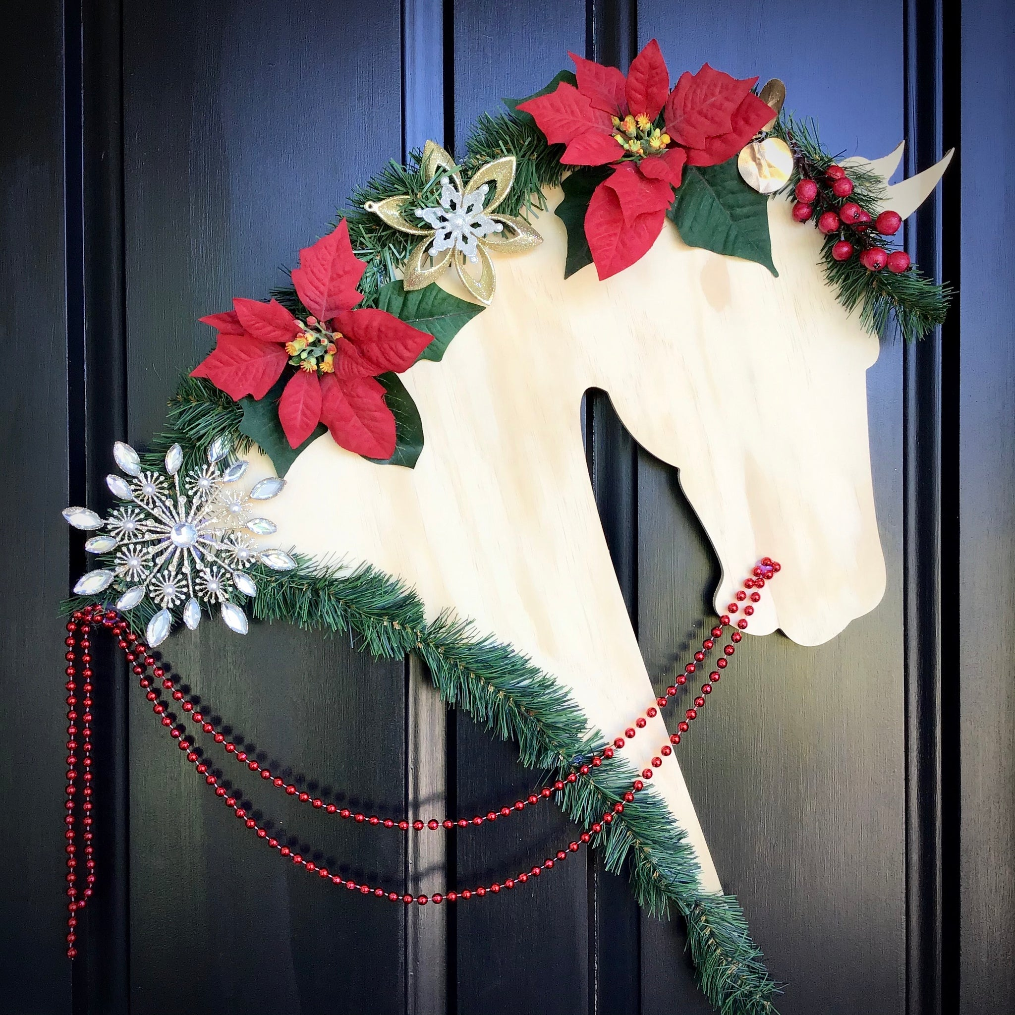 Horse Christmas Wreath: Prancer - Horseshoe Mementoes