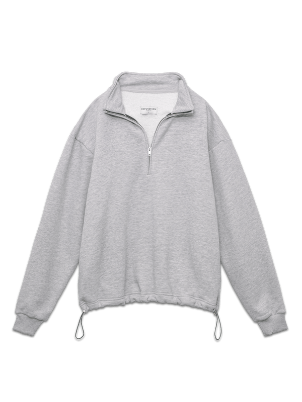 3/4 Zipper Sweater - Heather Grey