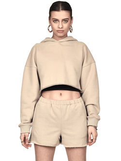 Oversized Cropped Hoodie - Sand