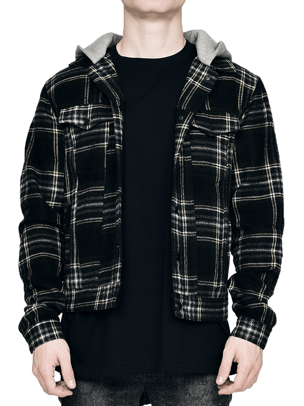 Flannel with Hood - Black