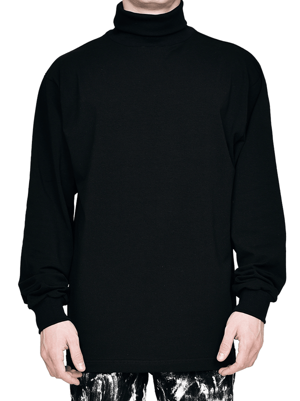 Turtle Neck Tee - Black - lakenzie