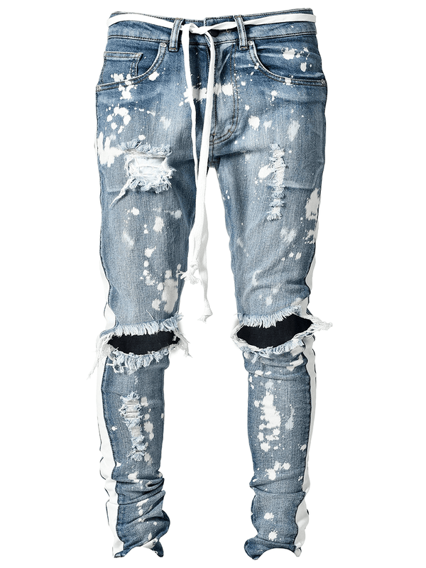 Distressed Track Denim - Splatter