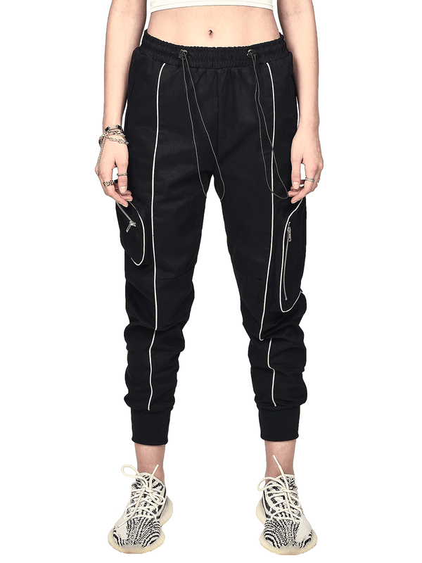 Reflective Piping Pants - Black - lakenzie