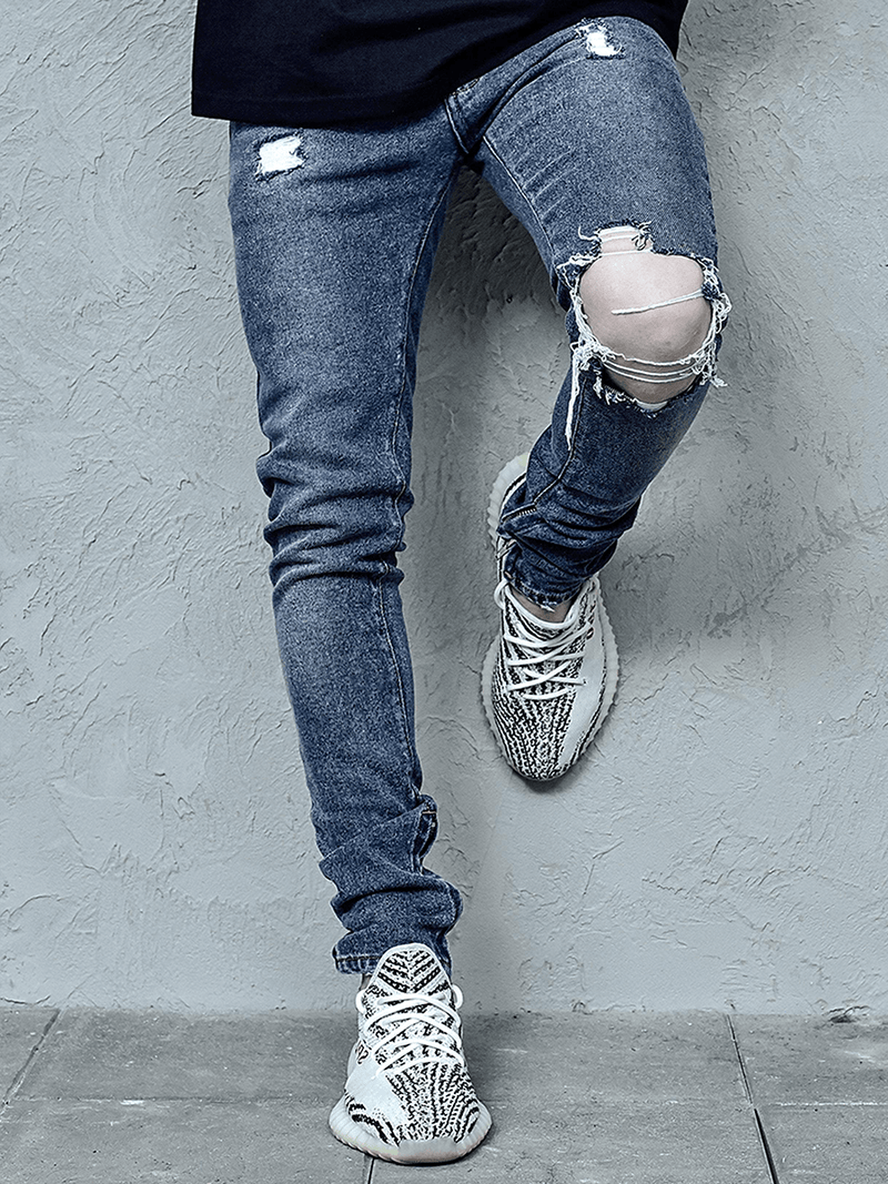 One Knee Blowout Denim - Dark Stone - lakenzie