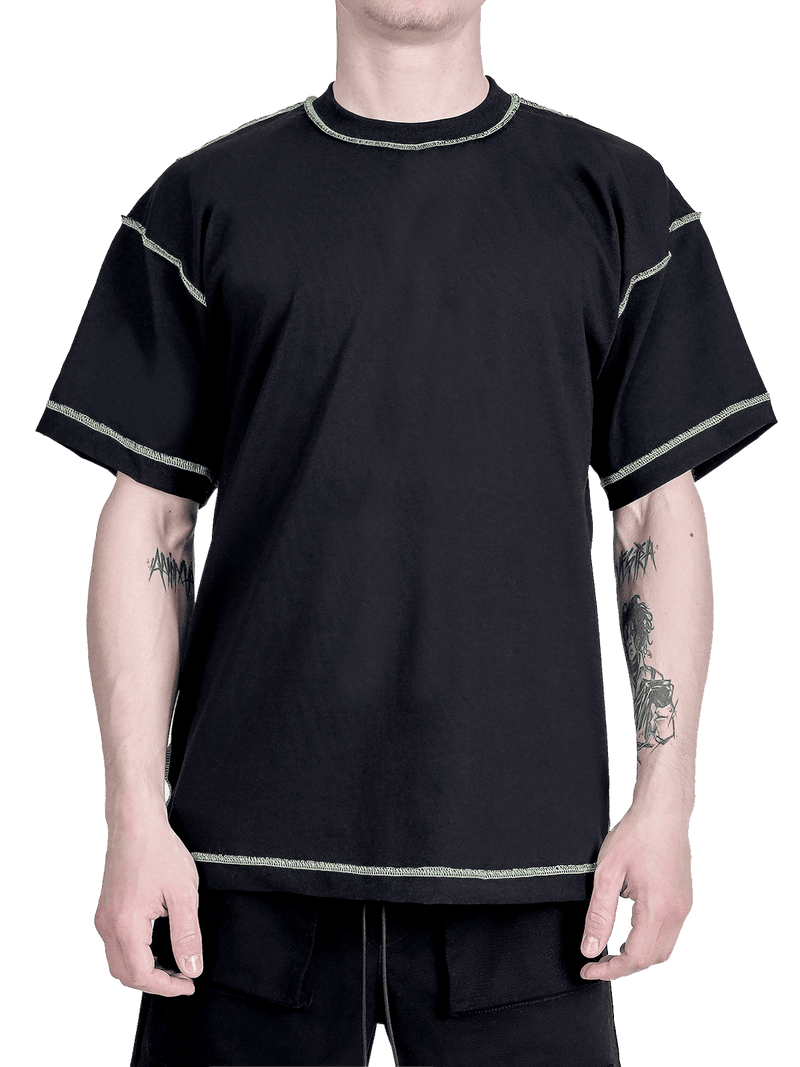 Contrast Stitch Tee - Black