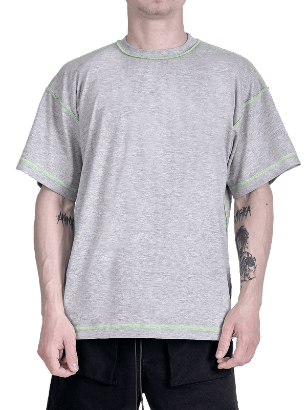 Contrast Stitch Tee - Heather Grey