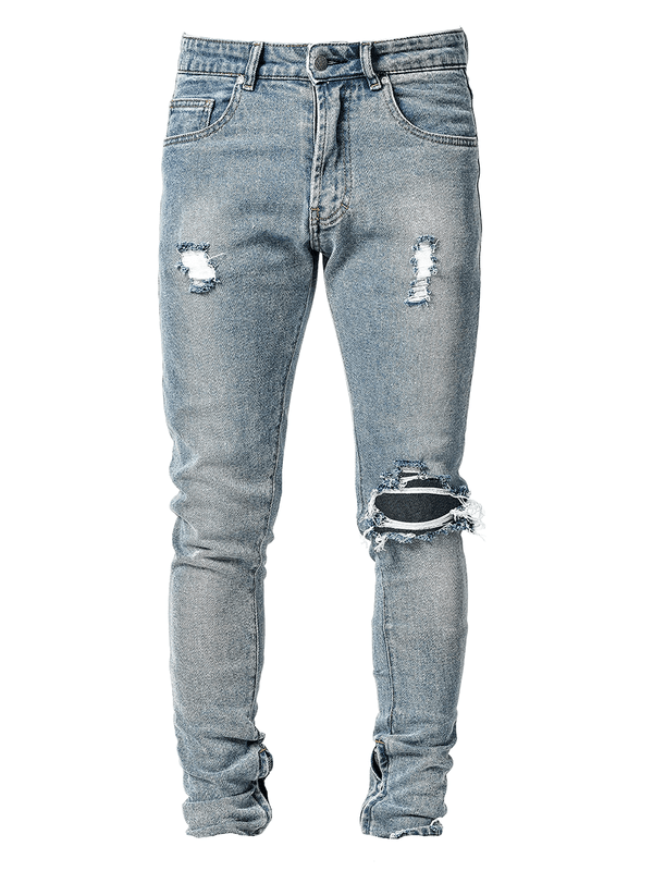 One Knee Blowout Denim - Light Stone - lakenzie