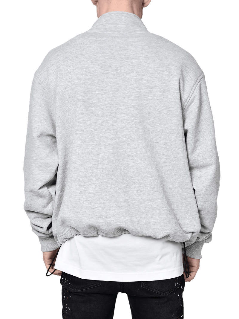 3/4 Grey Sweater With Zipper From Back