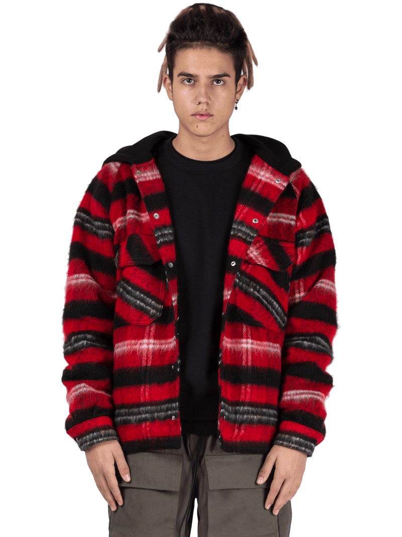 Oversized Tartan Shirt - Red