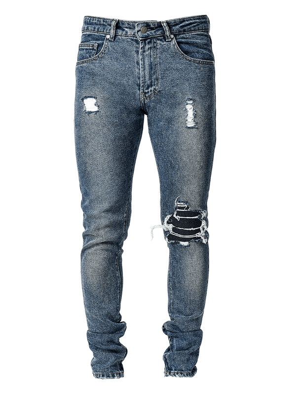 One Knee Blowout Denim - Dark Stone