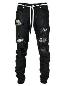 Biker Patch Denim - Leopard Multi