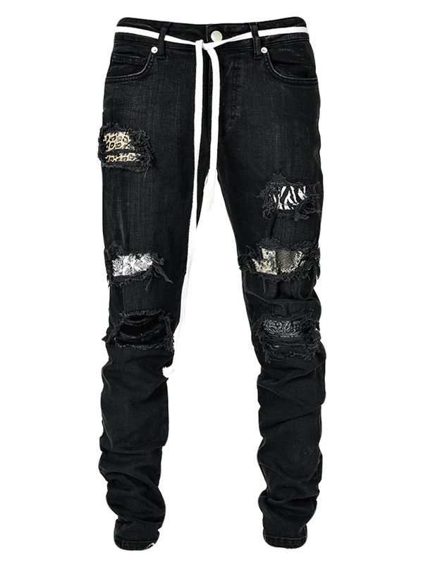 Biker Patch Denim - Leopard Multi - lakenzie