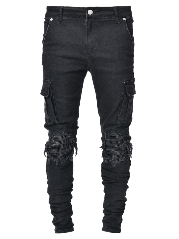Cargo Denim Biker Patch - Black