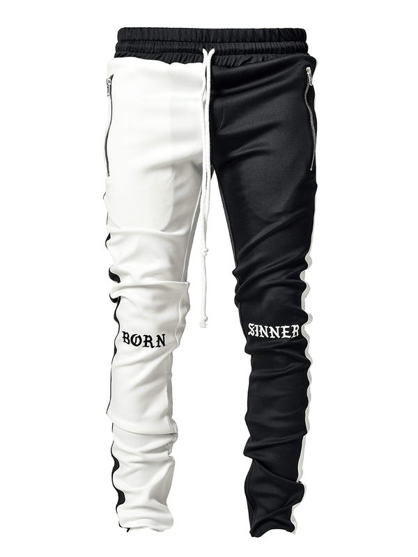 Drawstring Trackpants V3 - Black / White Born Sinner - lakenzie