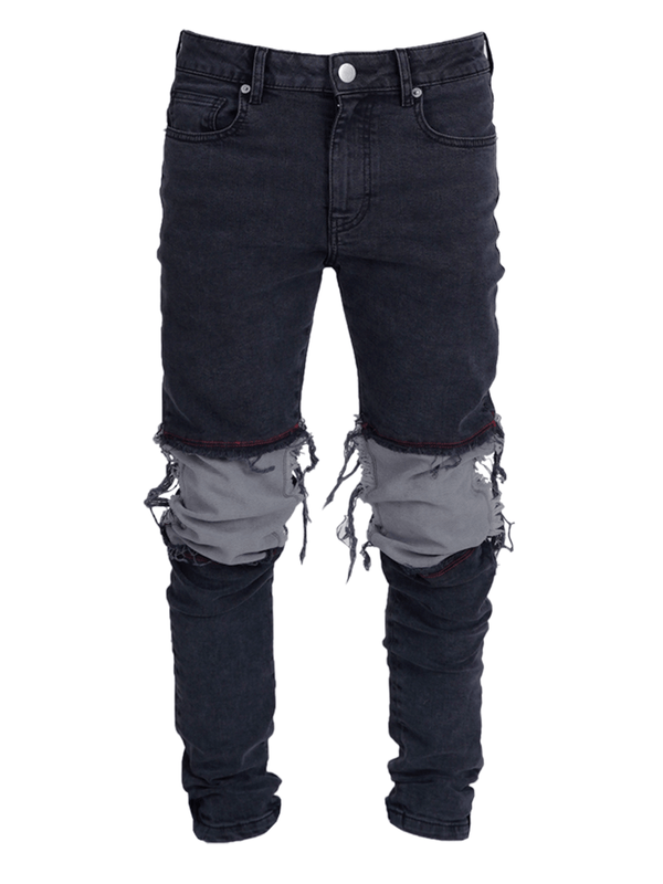 Contrast Knee Patch Denim - Black